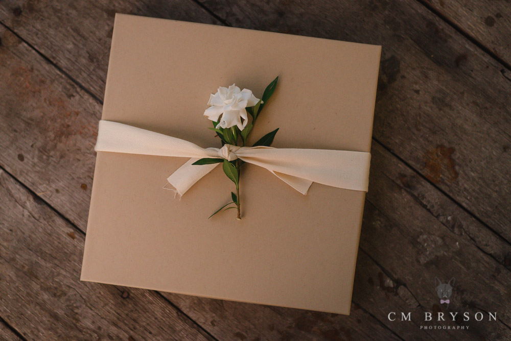 Kraft box with cotton ribbon and gardenia flower