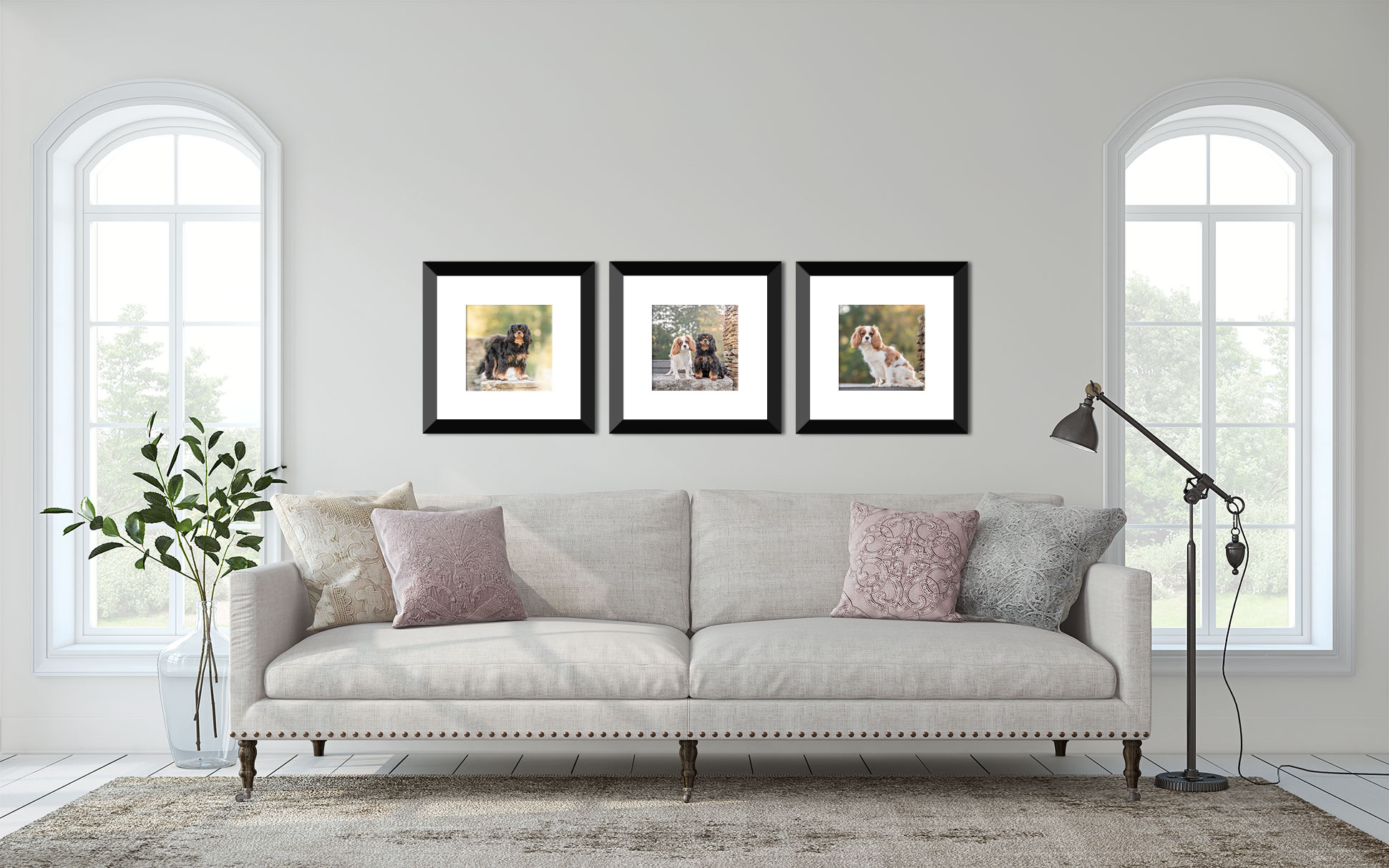 Atlanta dog photographer shares how to create a gallery wall with photos from your dog photography session.