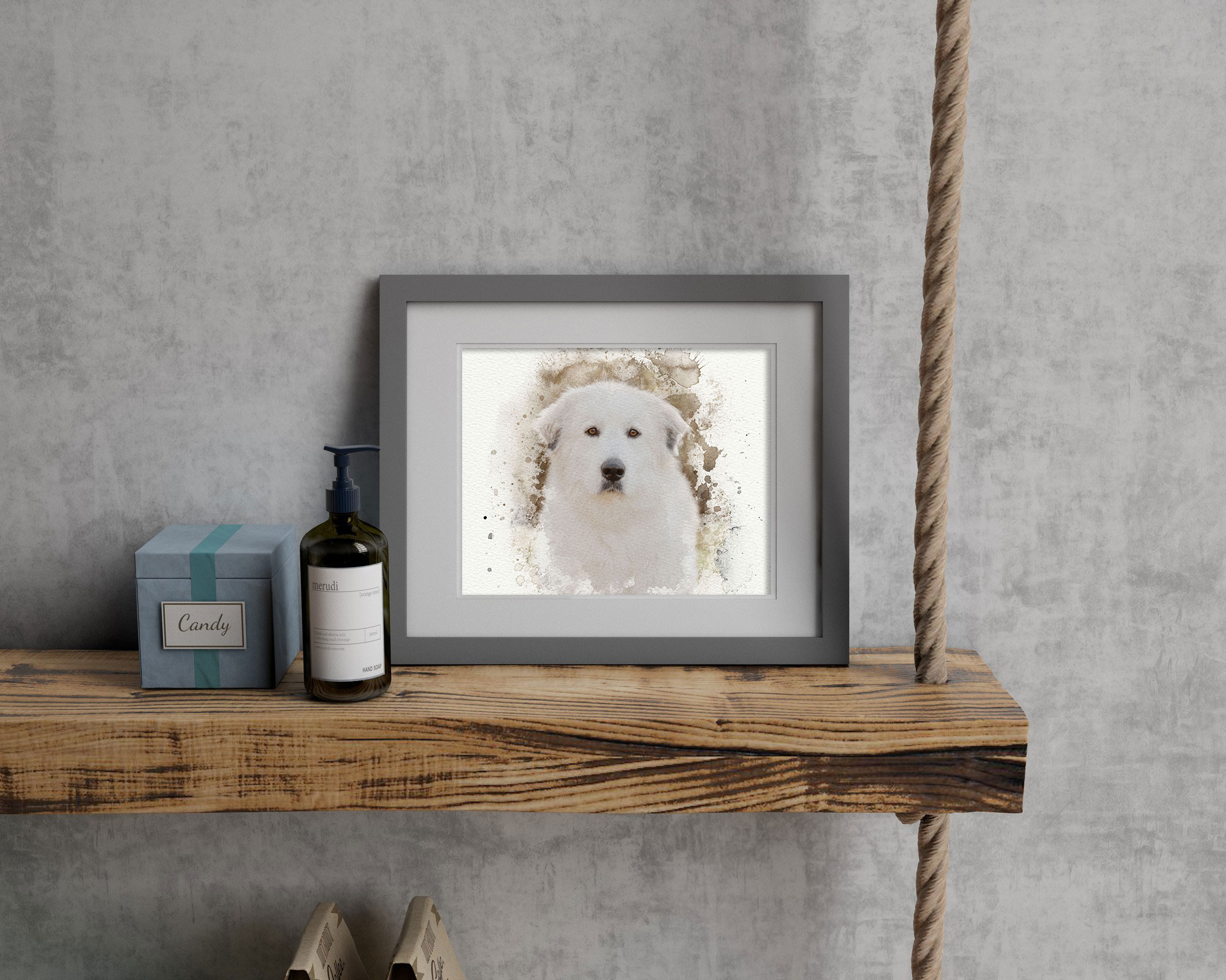 Adding dog photography to shelves is an unique way to decorate your home with personal art from dog photographer Courtney Bryson